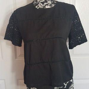 2 for $25 Lace & Crochet HYPR M/L Black Blouse